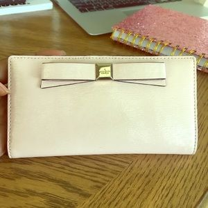 Kate Spade blush pink leather bow wallet